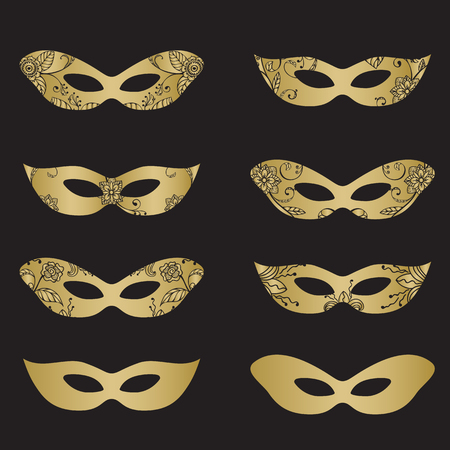 new orleans: Gold color masquerade mask silhouettes with decorative elements on black background