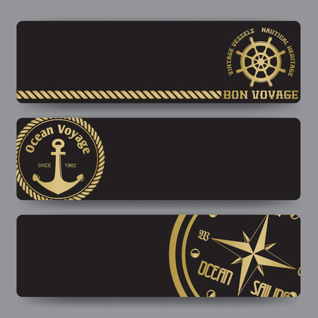 Nautical background with wind rose compass and anchor in gold and black color