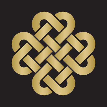 Decorative Celtic Love Knot, also called Quadruple Solomon's knot in gold color on black background