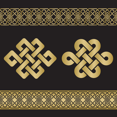 interlacing: The eternal knot also known as The endless knot, two versions and seamless border with interlacing pattern in gold color on black background