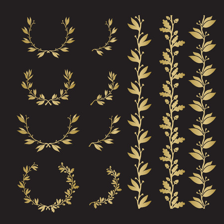 Silhouette laurel and oak wreaths in different  shapes, borders. Gold color on black background