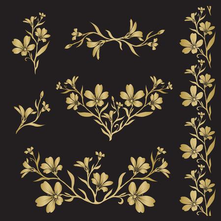 cerastium tomentosum: Chickweed (Tomentosum cerastium) graphic flower silhouettes in gold color on black background