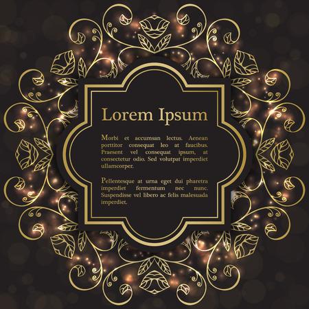 Hintergrund mit Goldgrafik mit Blumen. Für Hochzeitseinladung, Buchumschlag oder Flyer
