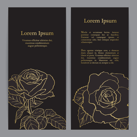 background with gold rose graphic flowers for wedding invitation