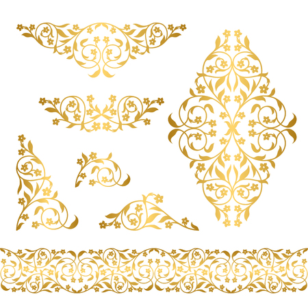 Graphic flower silhouettes in gold color on white background
