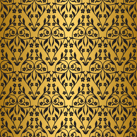 antiquities: Seamless pattern inspired by victorian ornaments. Black and gold color Illustration