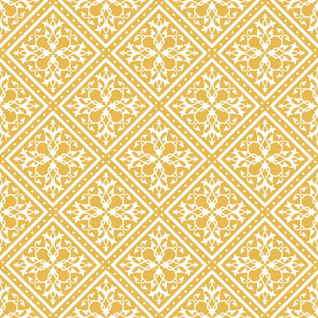 Seamless gold and white floral pattern. Inspired by old islamic ornaments Illustration