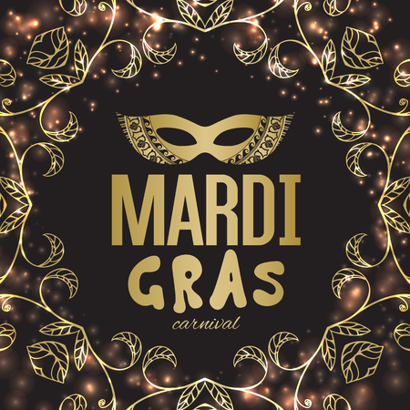 new orleans: Mardi Gras carnival background with masquerade mask silhouette