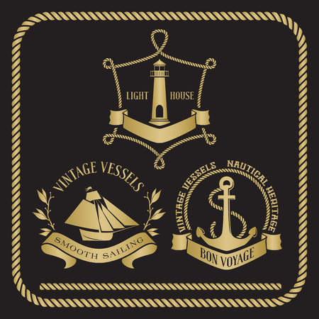Nautical emblems and signs with vessel, light house and anchor. Seamless rope border in black and gold