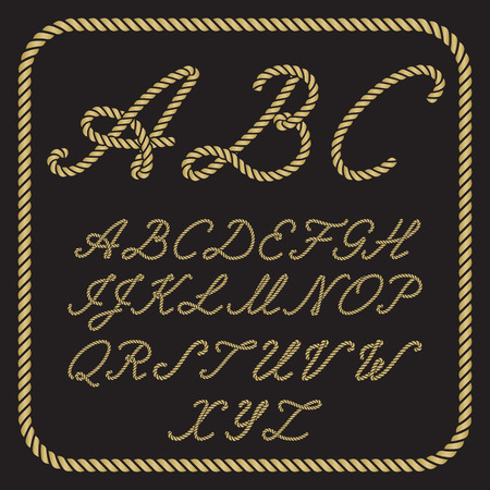 Gold letters made from nautical rope - hand written font Иллюстрация