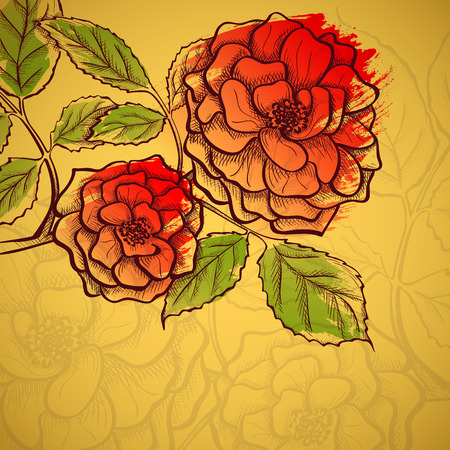 Sketch rose branch, hand drawn, ink style with paint strokes imitation