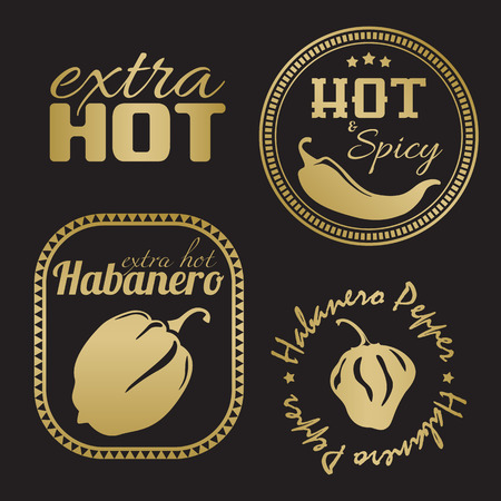 Extra hot chili and habanero pepper labels. Gold and black color Illustration
