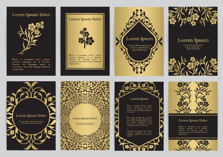 Vector templates for A4 with florals in black, gold colors. Based on ancient greek, islamic and turkish ornaments. For invitation, banner, postcard or flyer.