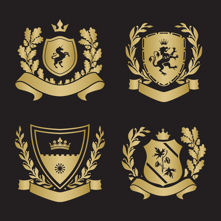 gryphon: Coats of arms - shields with crown, unicorn, laurel wreath at the sides. Based on and inspired by old heraldry. gold color on black background Illustration