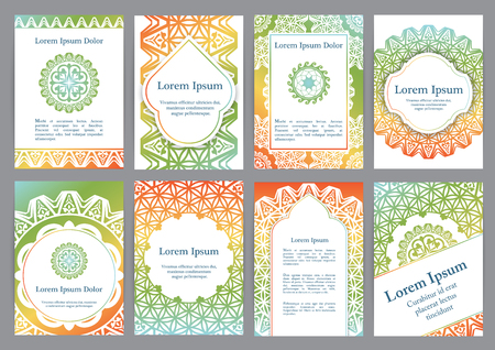 Vector templates with mandala. Based on ancient greek, islamic and turkish ornaments. For invitation, banner, postcard or flyer.