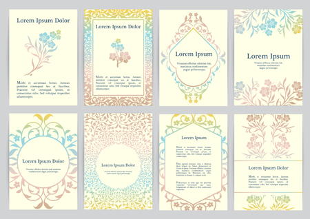 Vector templates for A4 with florals. Based on ancient greek, islamic and turkish ornaments. For invitation, banner, postcard or flyer. Illustration