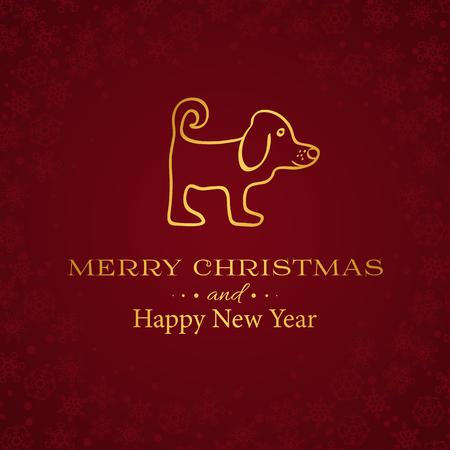 Feliz Navidad y Feliz Año Nuevo fondo en color rojo y oro
