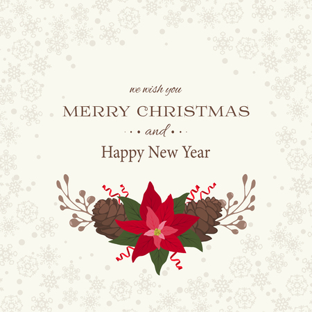 Merry Christmas and Happy New Year background with poinsettia and pine cones decor