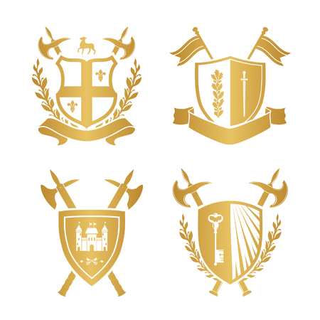 Coats of arms - shields with fleur-de-lys, town, halberds at the sides. Based on and inspired by old heraldry. gold color on white background Illustration