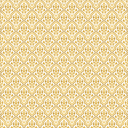 Seamless gold and white floral pattern. Inspired by old moroccan, arabian and turkish ornaments Illustration