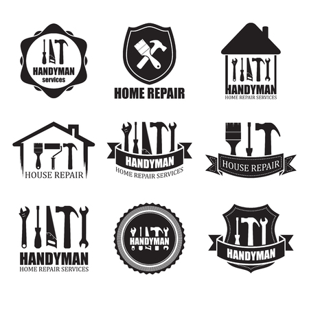 Set of different handyman services icons, isolated on white background. For logo, label or banner Illusztráció