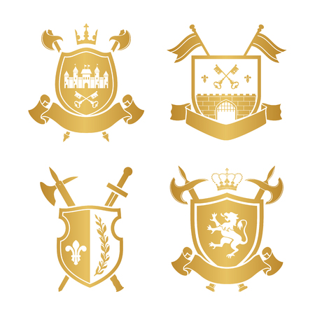 citadel: Coats of arms - shields with crown, town, halberds at the sides. Based on and inspired by old heraldry. gold color on white background