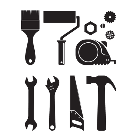 Set of different tool silhouette icons, isolated on white background