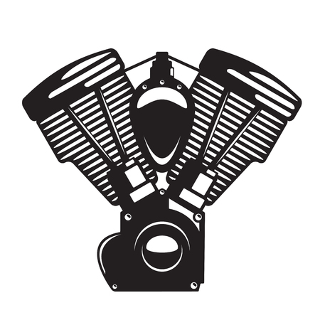 Motorcycle engine emblem in monochrome silhouette style, for logo, tattoo, emblem