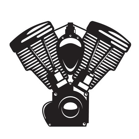 Motormotor embleem in zwart-wit silhouetstijl, voor logo, tattoo, embleem