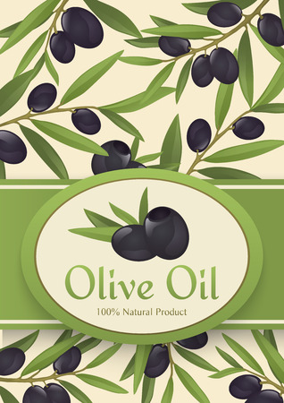 Background for olive oil - olive branches with olives, fully hand drawn vector