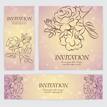 ar: Floral backgrounds with hand drawn flowers - rose. Templates for banner, flyer ar invitation
