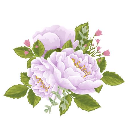 campanula: English roses with leaves and campanula flowers. Hand drawn vector