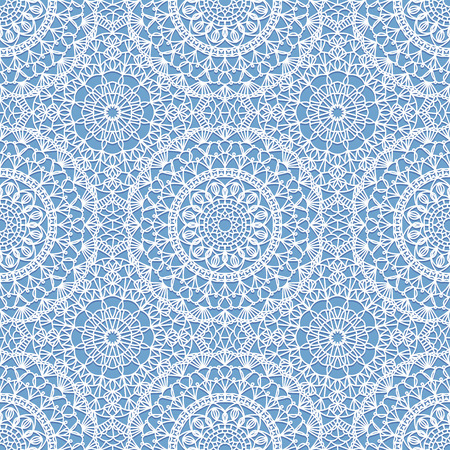 Seamless Boho Syle Pattern With Crochet Lace Round Motifs Royalty