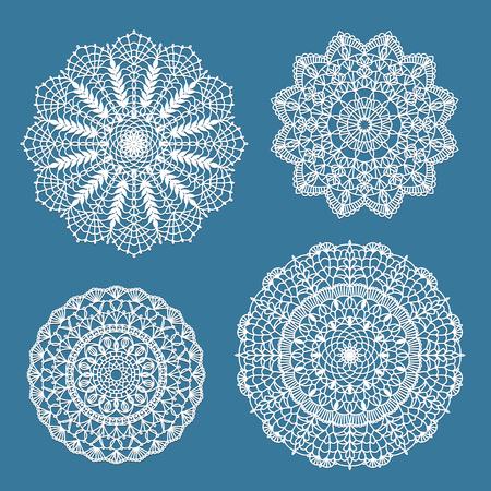 Set of handdrawn crochet lace doilies