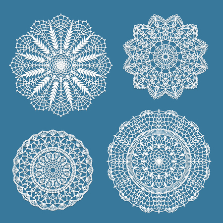 Set of handdrawn crochet lace doilies