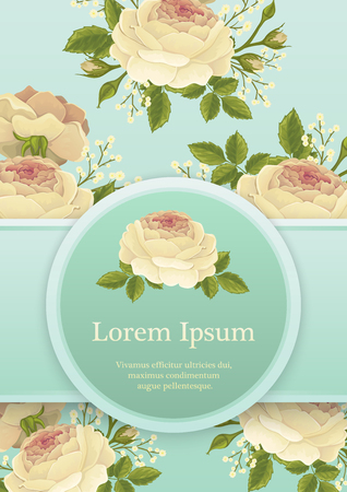 vintage postcard: Background with classic english roses, for invitation, greeting card or book cover Illustration