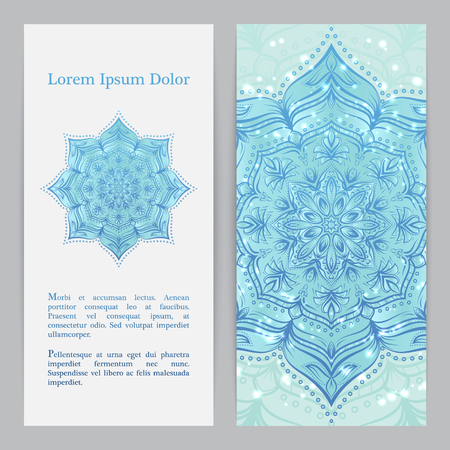 Template set with flower mandala in blue color