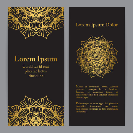 Template set with flower mandala in gold color