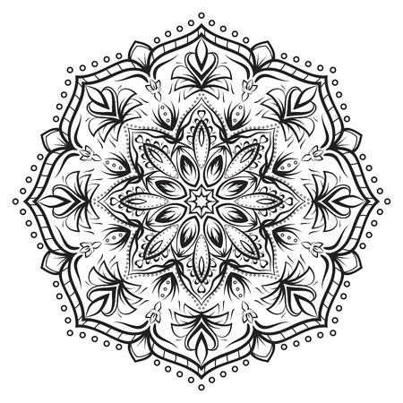 Round flower mandala ornament Illustration