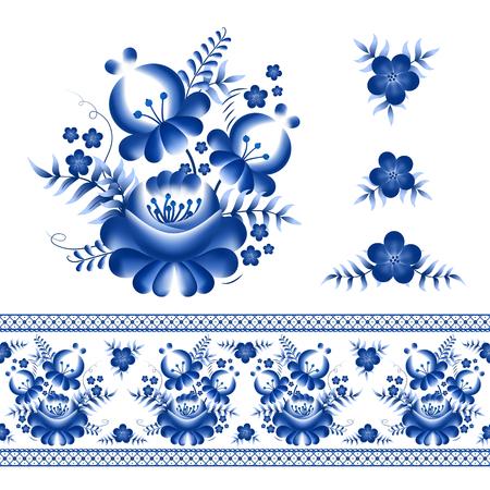 古典的なロシアの飾り枠と花の要素  イラスト・ベクター素材