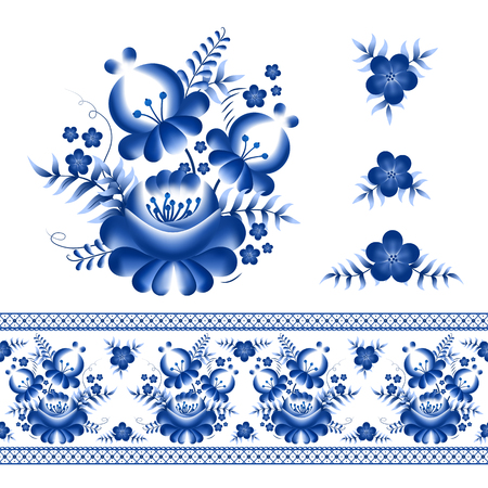 Classic russian ornament border and floral elements