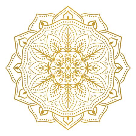 Round flower mandala ornament. For decoration, coloring book page, textile or tattoo Ilustração