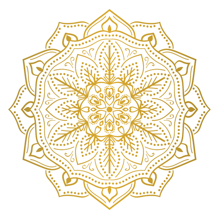 Round flower mandala ornament. For decoration, coloring book page, textile or tattoo Illustration