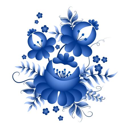 花と葉は明るいコバルト色で古典的なロシア ghzel 飾りモチーフ  イラスト・ベクター素材