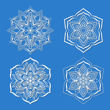 Round flower mandala ornament. Illustration
