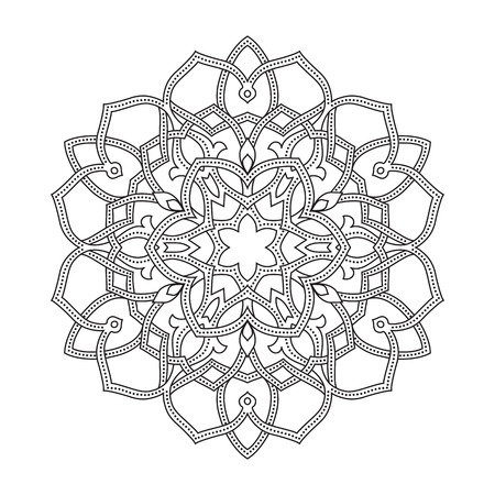 Round ornament based on old ottoman and arabic patterns. Illustration