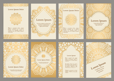 Background templates with crochet lace ornaments for flyer, book cover or invitation Illustration