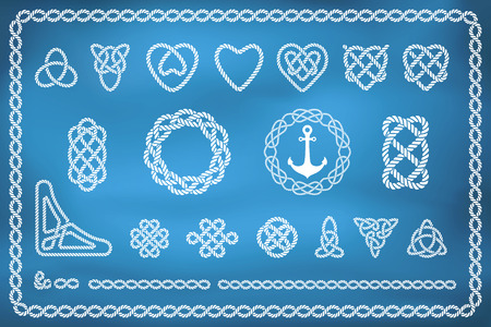 Set of nautical rope knots in different shapes and styles Illustration
