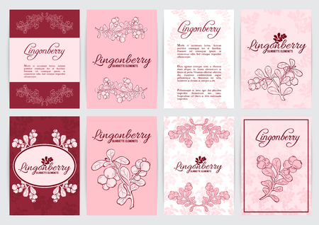 Vaccinium vitis-idaea ( lingonberry or cowberry) A4 templates