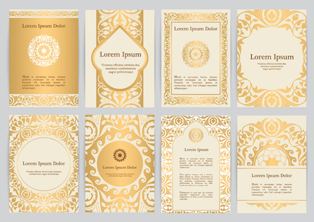 Vector templates for A4 with florals in beige, gold colors. Based on ancient greek, islamic and turkish ornaments. For invitation, banner, postcard or flyer. Illustration